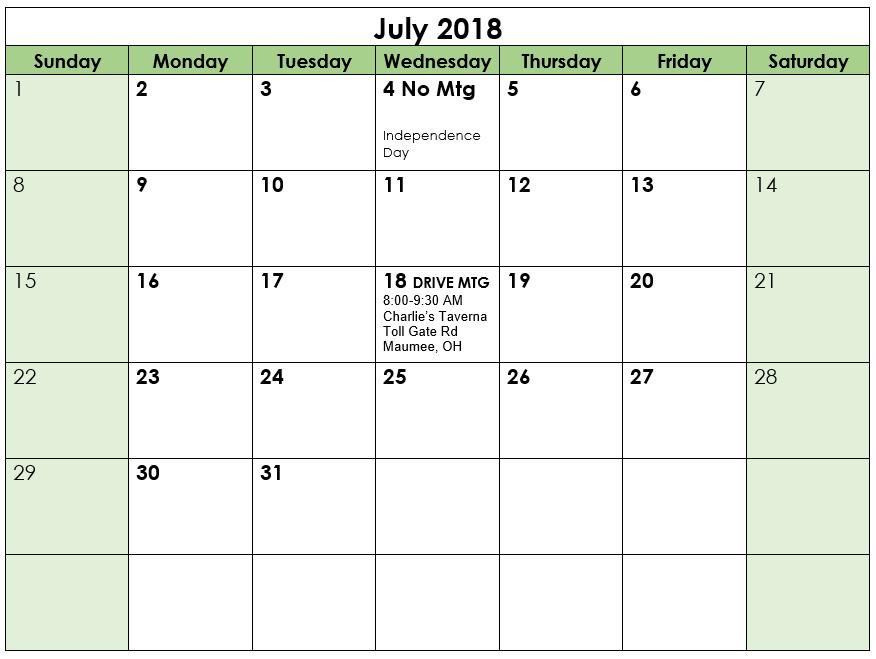 August 2018 Meeting calendar