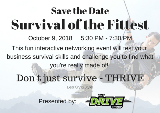 Save the date announcement for Fall Mixer Text overlay on top of Bear Grylls image